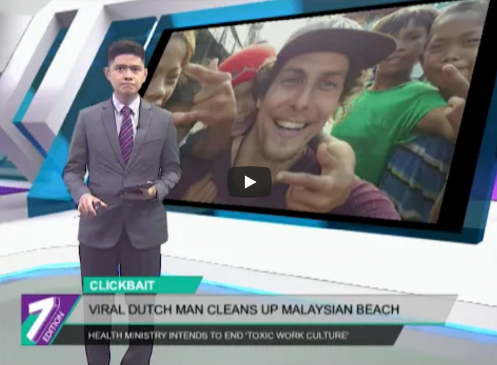 Tijmen Sissing Trashpacker on Malaysian Television Beach cleanup